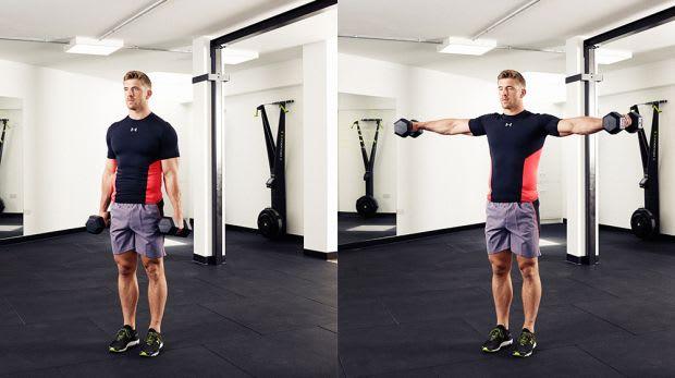 Exercícios Com Halteres - Elevação lateral com Halteres