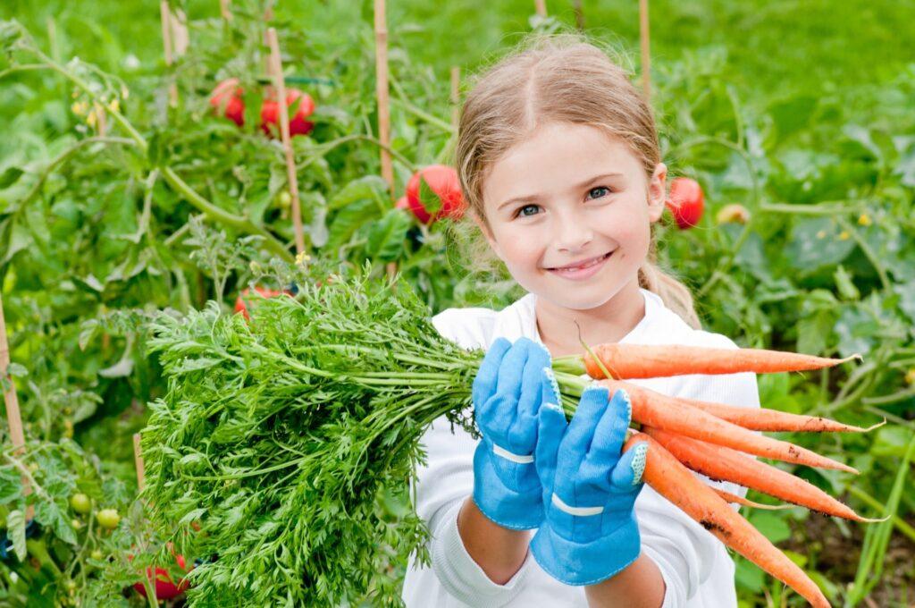 Uma garotinha sorridente segurando um maço de cenoura